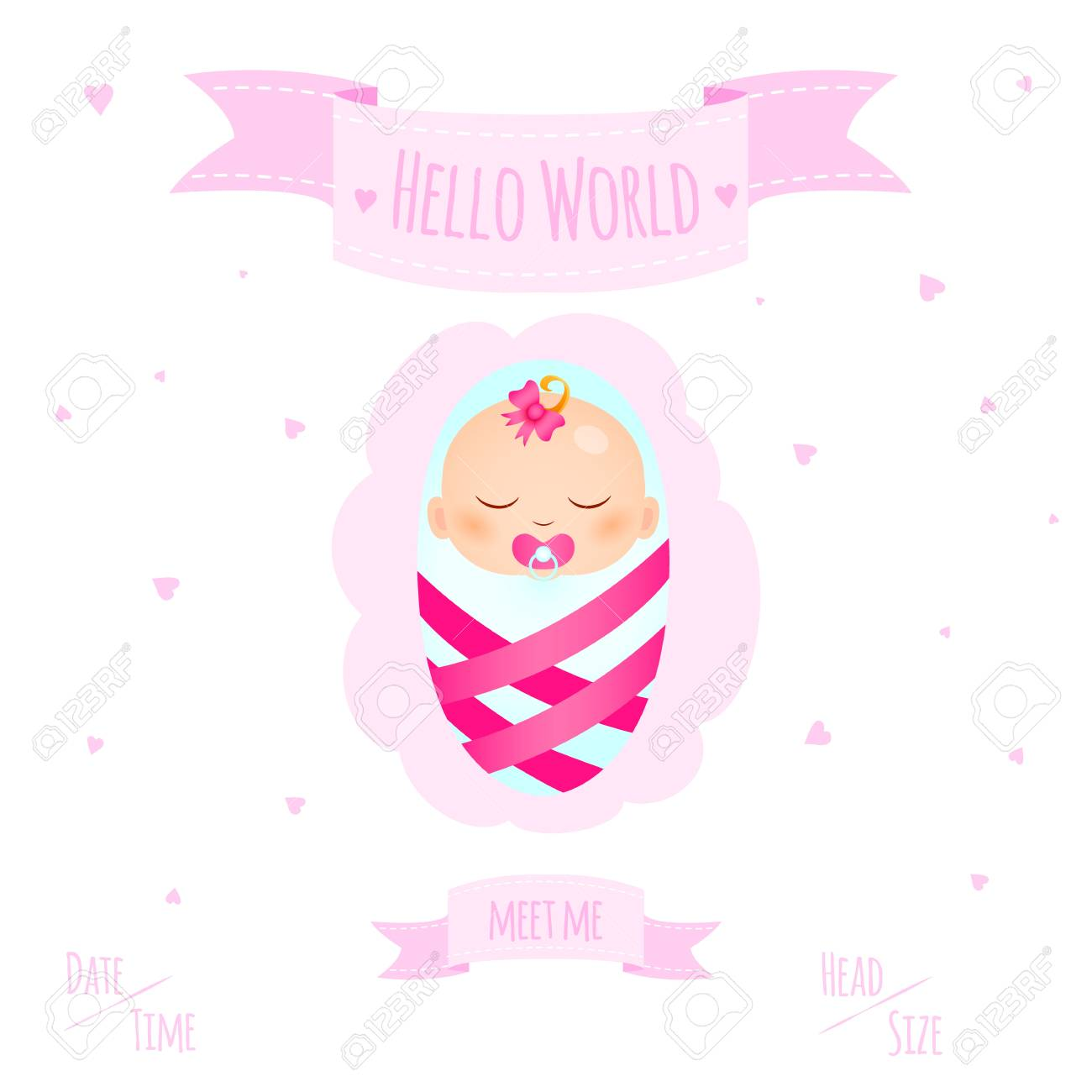 New child born baby newborn greeting card with girl kid in diapers new child born baby newborn greeting card with girl kid in diapers words hello world m4hsunfo