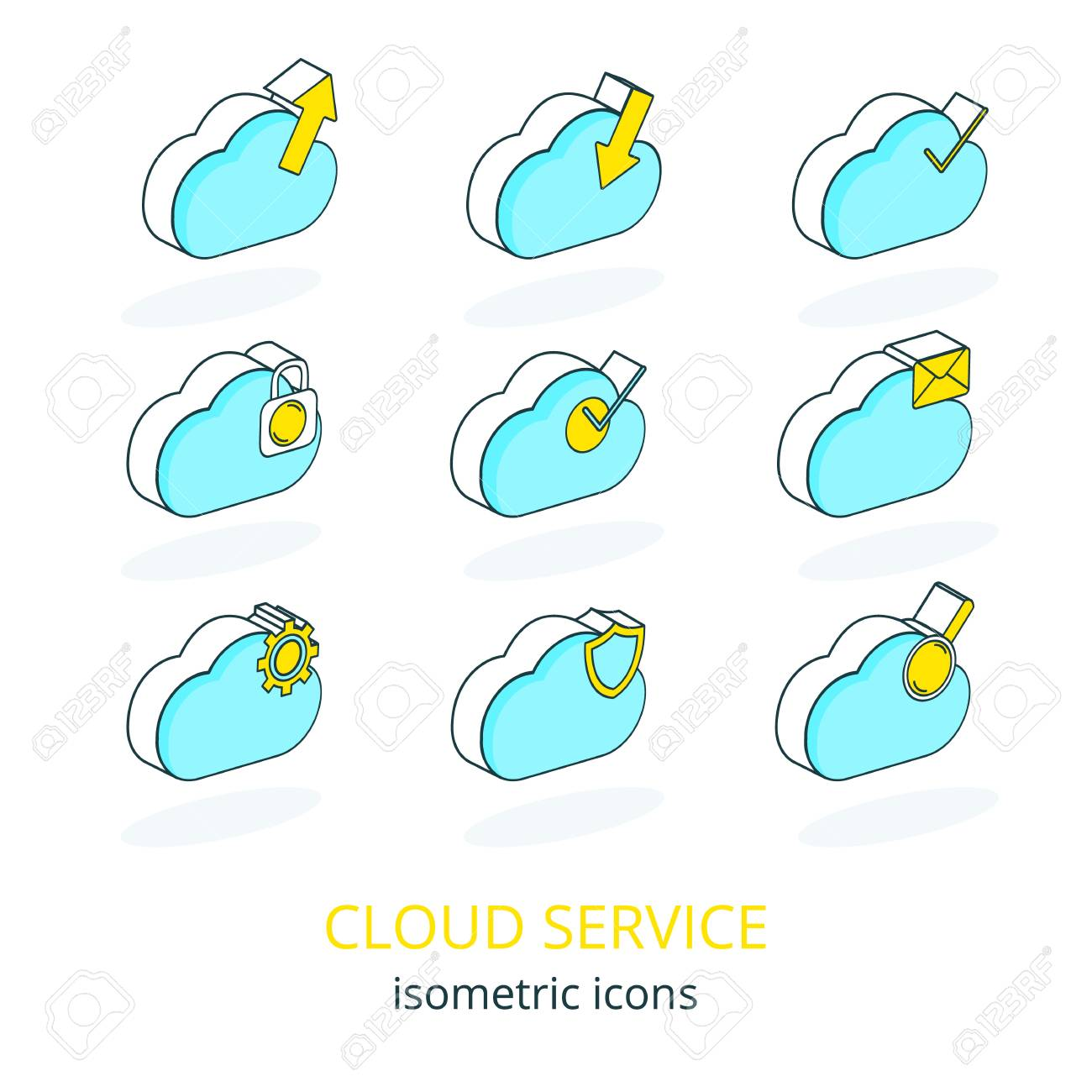 Set of Internet Cloud Service Isometric Icons-upload,download,security