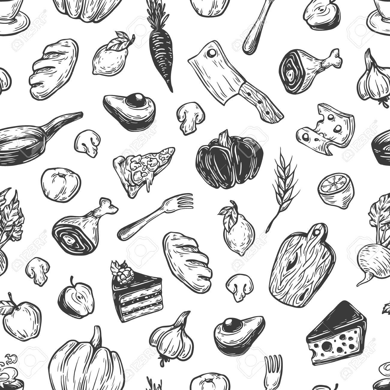 Kitchen Pattern. Cooking Pattern. Kitchenware, Cookware, Food ...