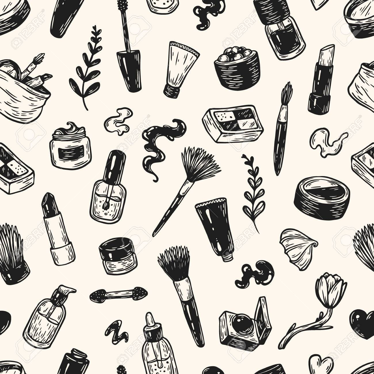 Beauty Products And Tools Hand Drawn Vector Pattern Make Up