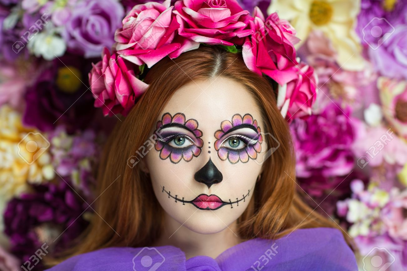 day of the dead skull mask art woman beautiful face painted as a traditional - Halloween Day Of The Dead Face Paint