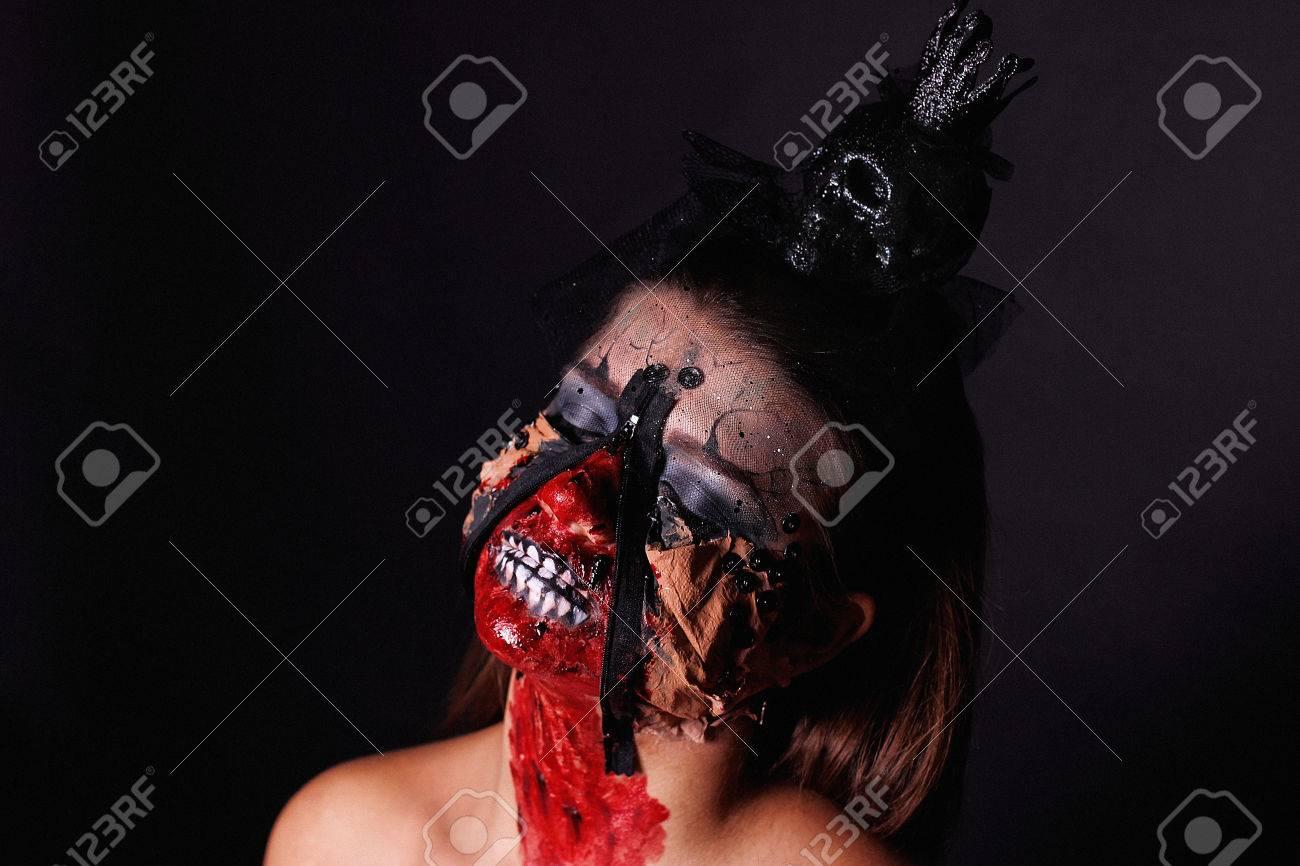Portrait Of Dark Quin From Horror Movie. Creative Design Body ...