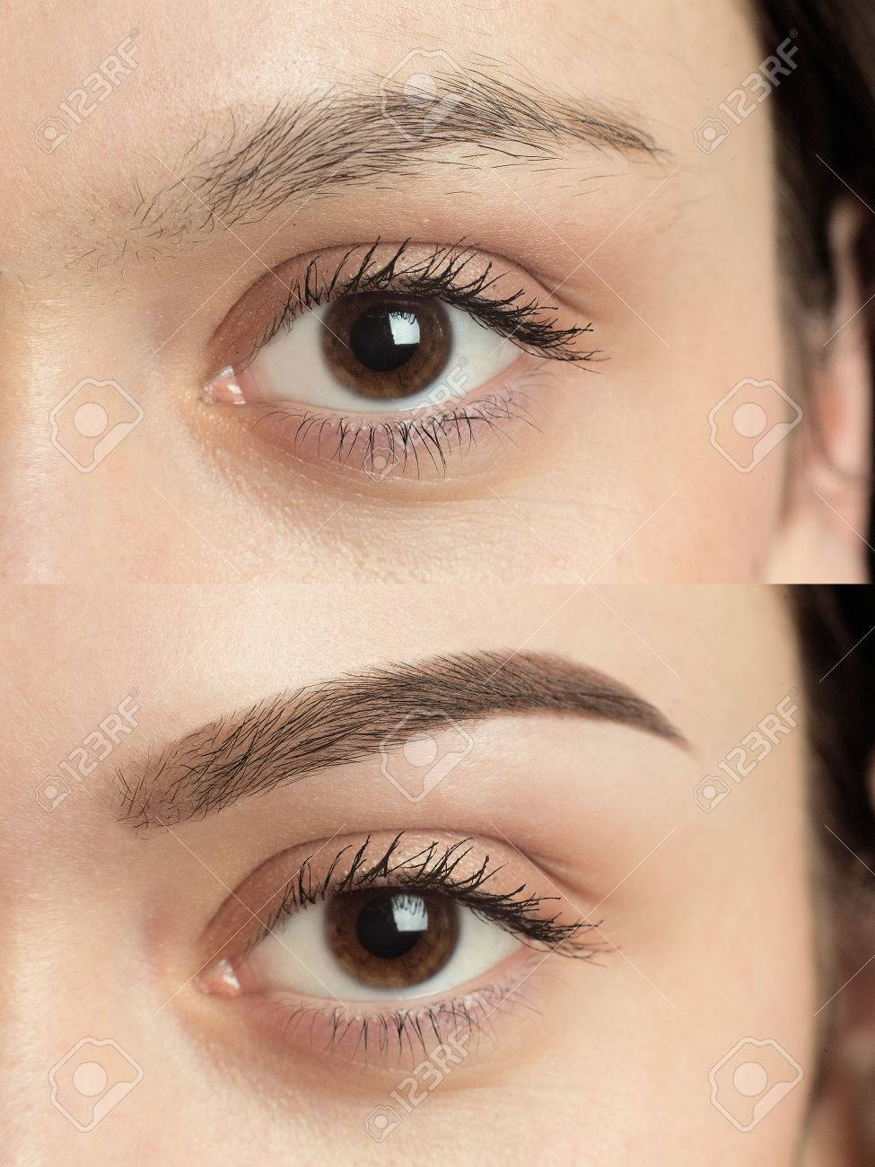 Perfect Eyebrows Before After. Two Photos Of Eyes, Eyebrows Before ...