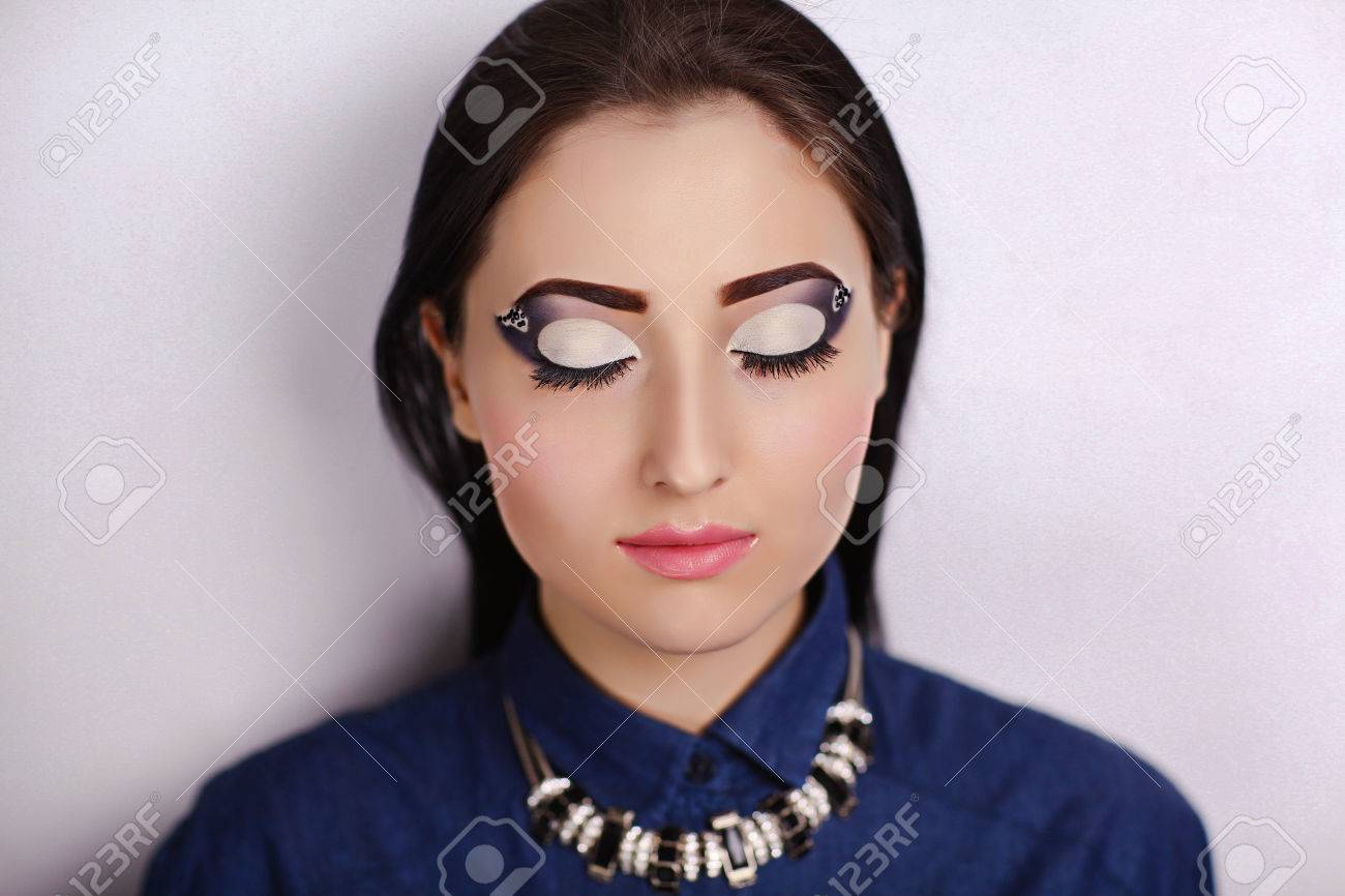 Schöne Frau Porträt Close Up Perfektes Gesicht Mit Sauberen Haut