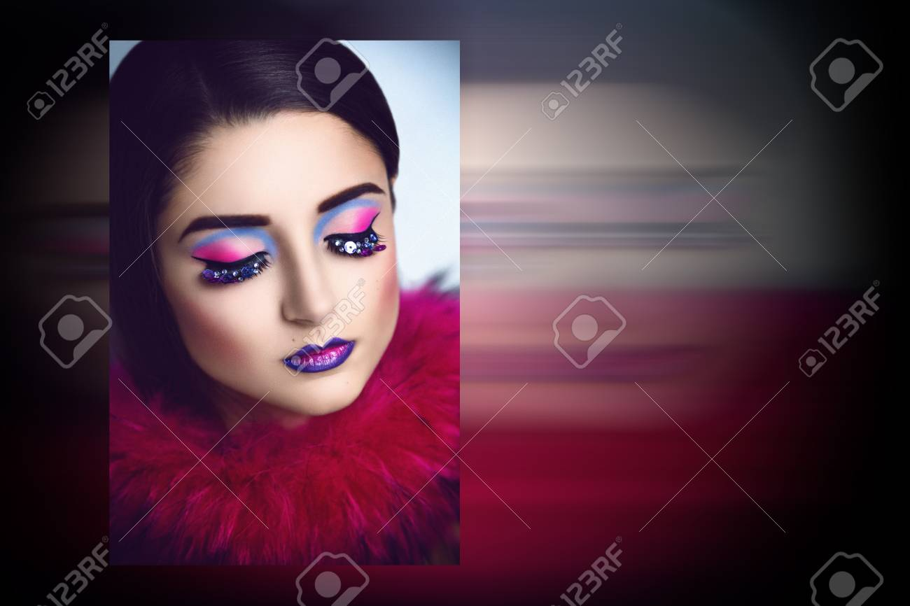 04b9aadf9a0 Magic Woman Face art Portrait of the magician with bright make up, lashes.  Photo with big free space, area, place for text, your inscription, buttons,  ...