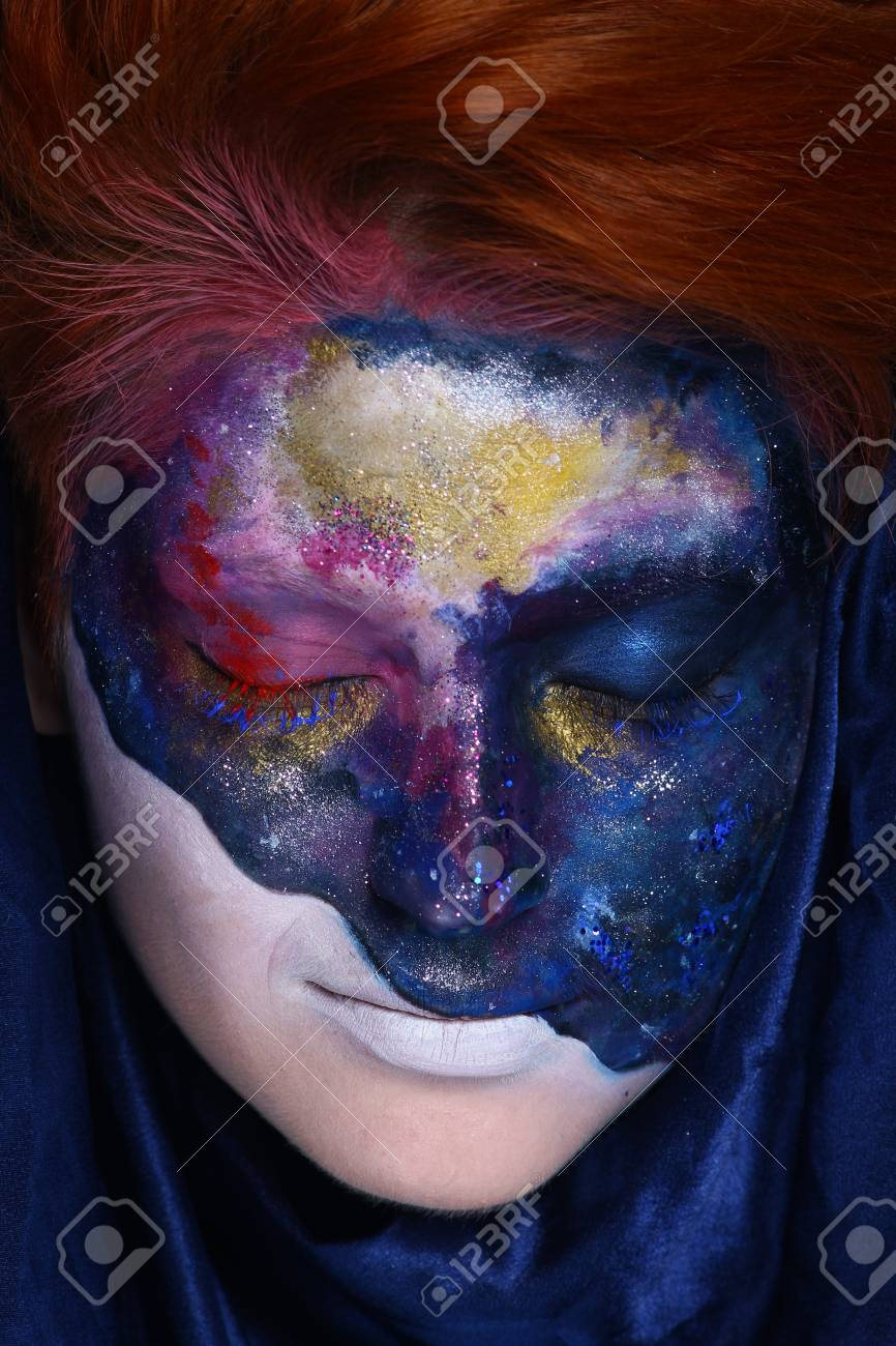 Creative Make Up New Conceptual Idea Black White Bold Body Art Stock Photo Picture And Royalty Free Image Image 88024875