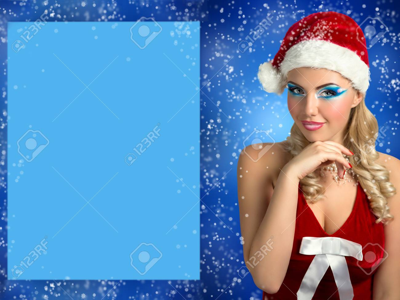Santa Girl. Card Happy New Year. Santa Claws Girl With Stylish ...