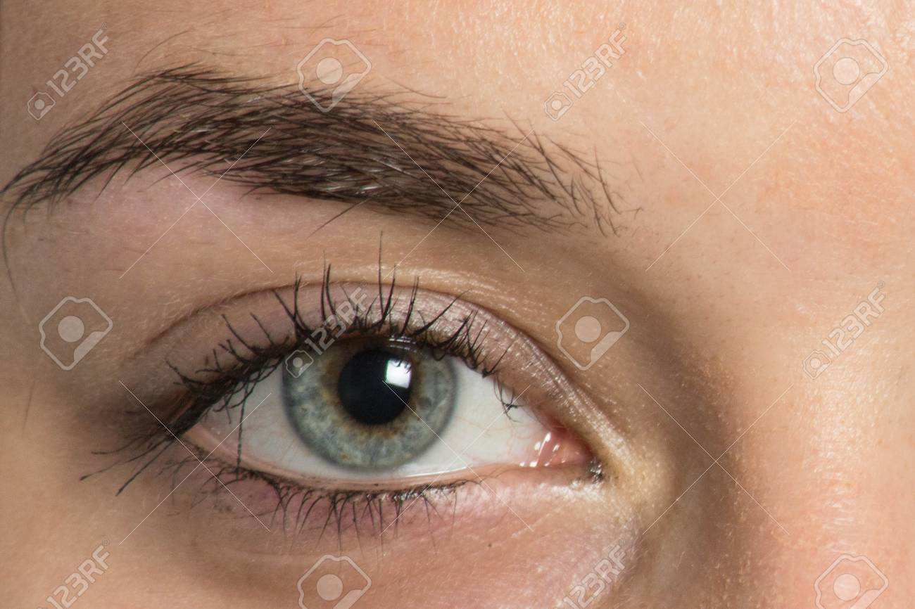 Eyebrow Before Correction Close Up Macro Photo Big Opened Eye