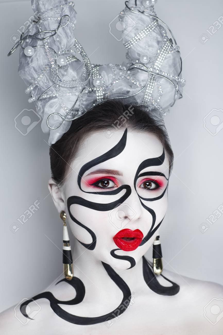 Creative Makeup Conceptual Idea For Halloween Black White Bold