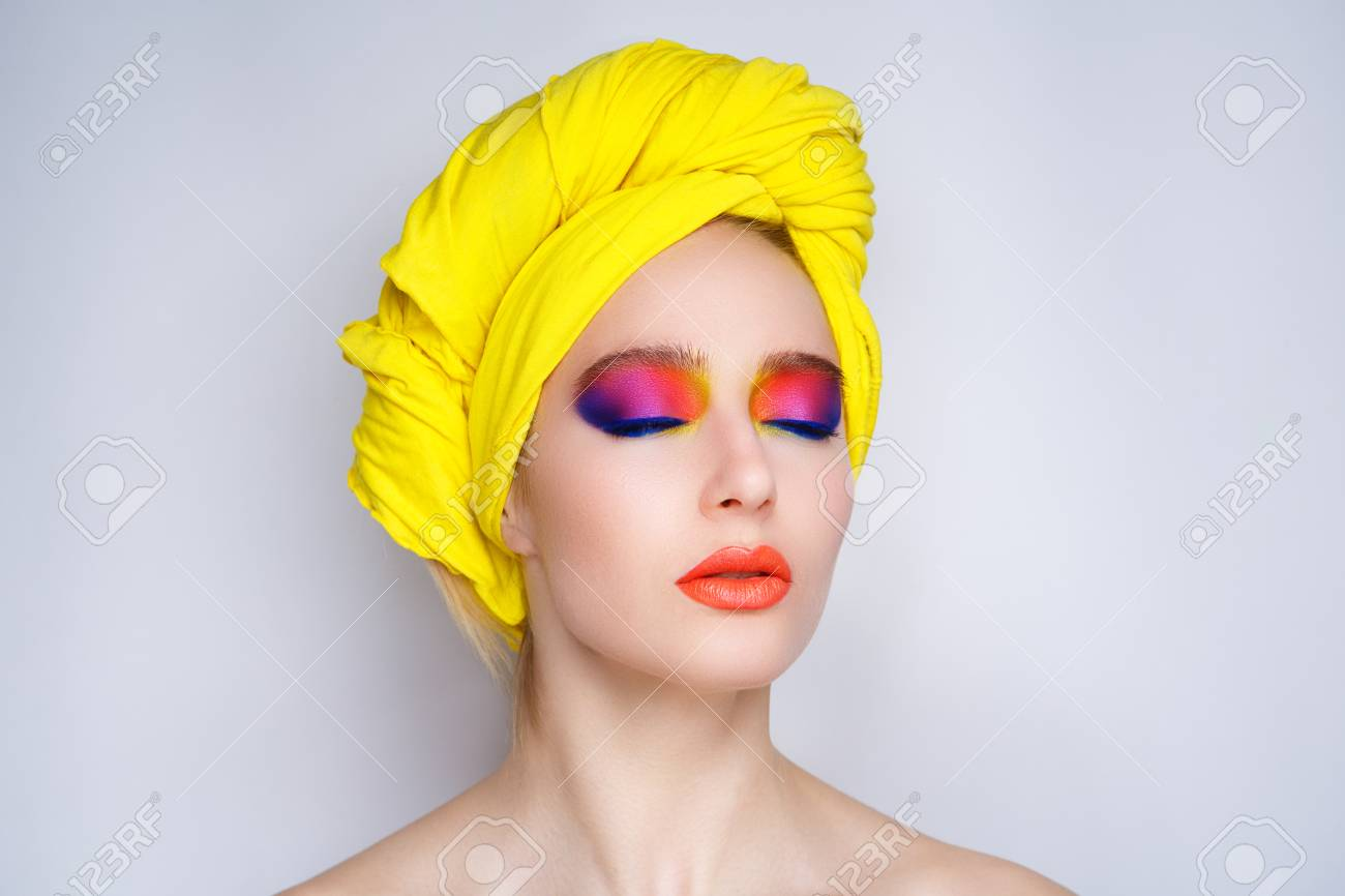 Creative Make Up New Conceptual Idea Pink Blue Orange Red Yellow
