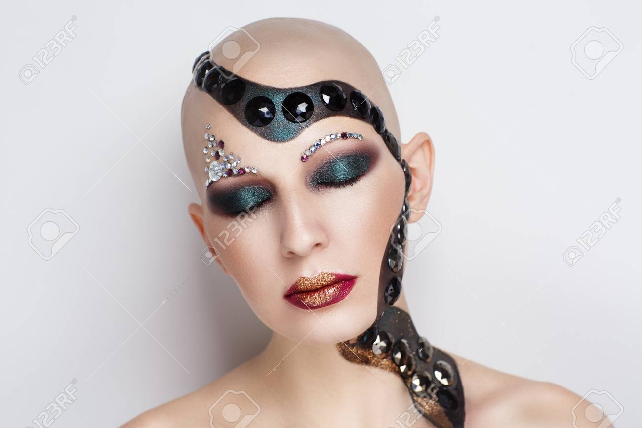 Creative Makeup New Crazy Conceptual Idea For Halloween Black Stock Photo Picture And Royalty Free Image Image 92833866