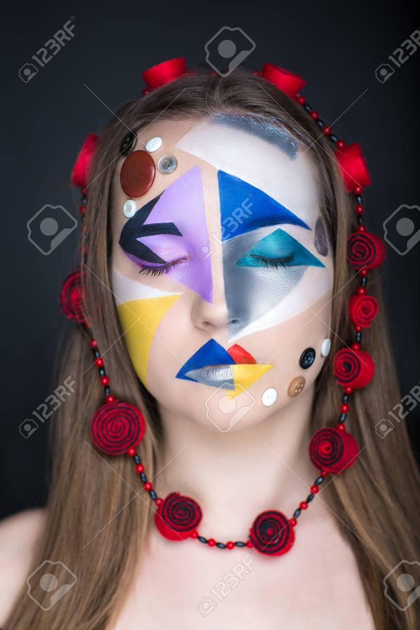 Creative Make Up New Conceptual Idea Blue Red Black White Bold