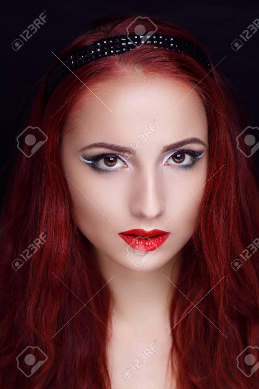 Beautiful Woman Face Combed Straight Bright Red Cherry Hair