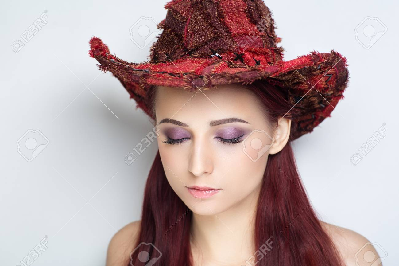 Beautiful Woman Lady Model Wears Big Red Fashionable Cowboy Hat