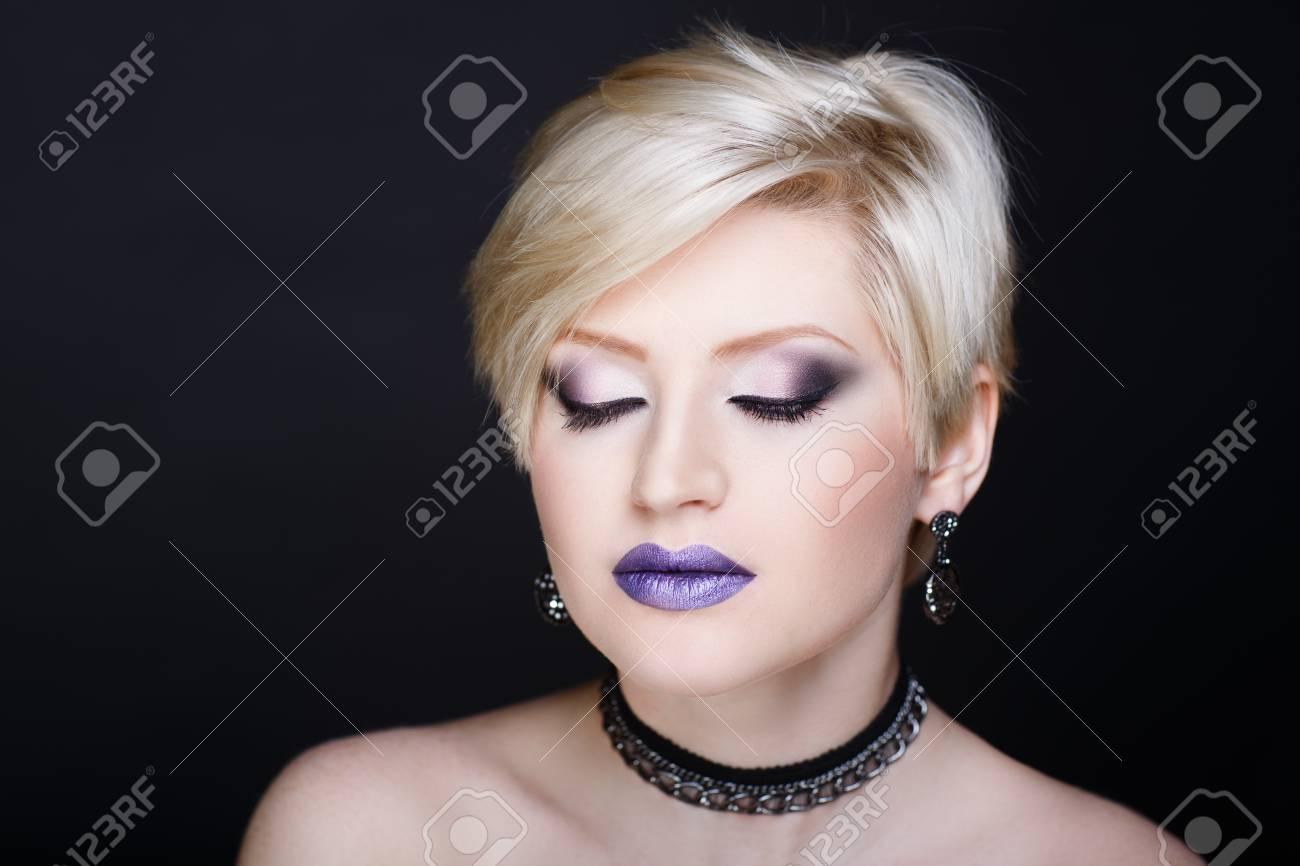 Closeup Portrait Beautiful Woman Face Blonde Short Haircut