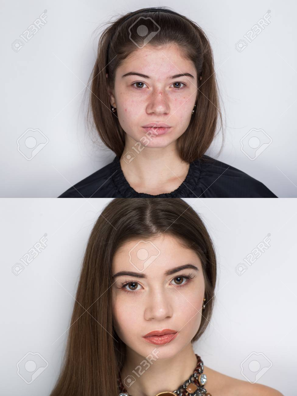 Comparison Portrait Young Beautiful Woman Without And With Makeup Cosmetics Nude Natural Beauty Make Up