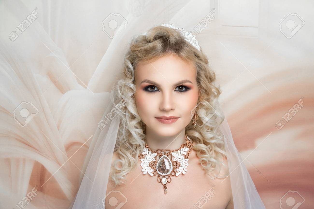 Beautiful Bride Russia Style Close Up Portrait Beauty Girl Woman