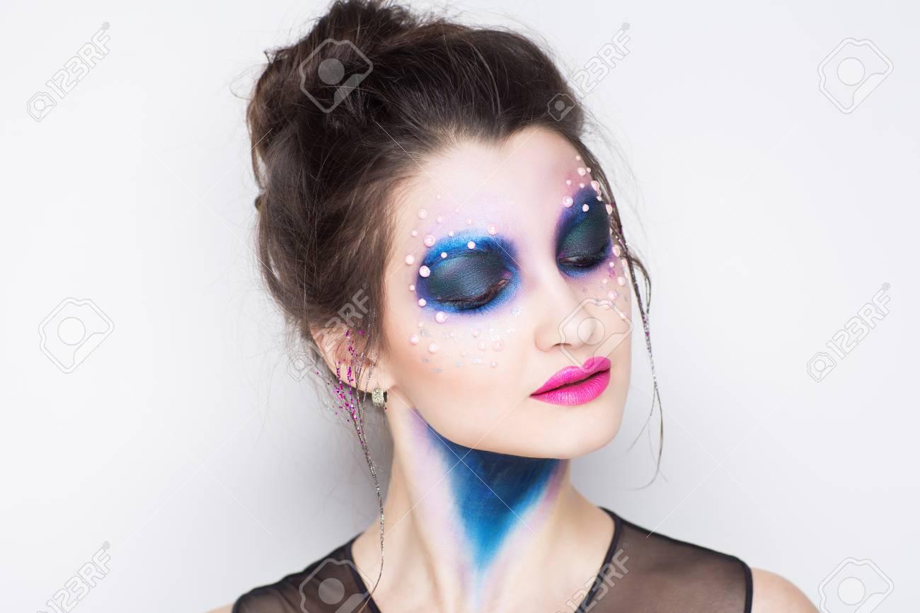 Creative Makeup New Crazy Conceptual Idea For Halloween Blue