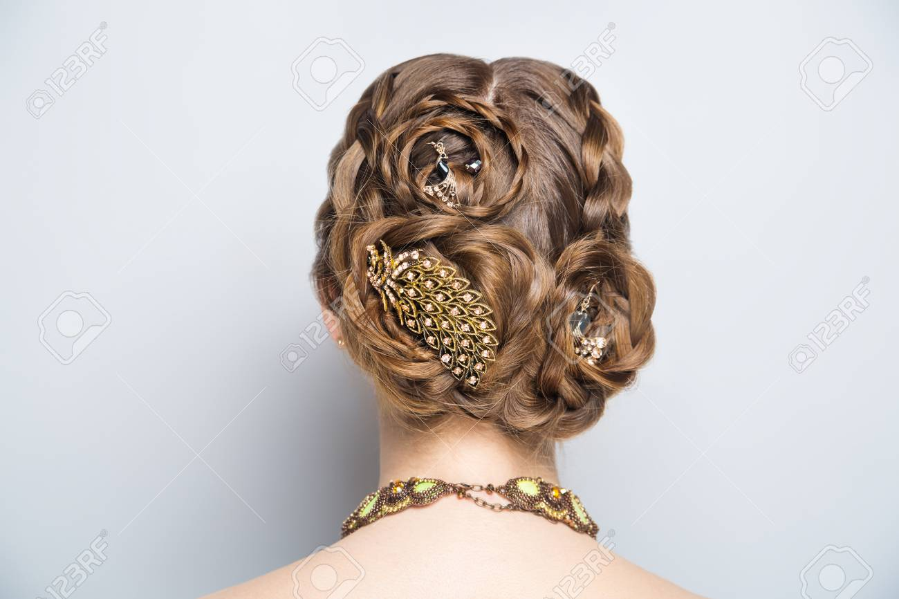 Woman Blonde Medium Length Hair Wedding Hairstyle Gathered Hair Do Stock Photo Picture And Royalty Free Image Image 97103450