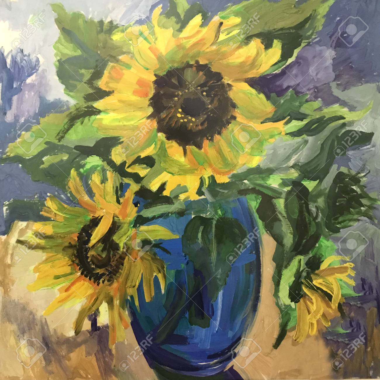 Drawing Of Sunflowers In A Blue Vase Picture Contains An Interesting