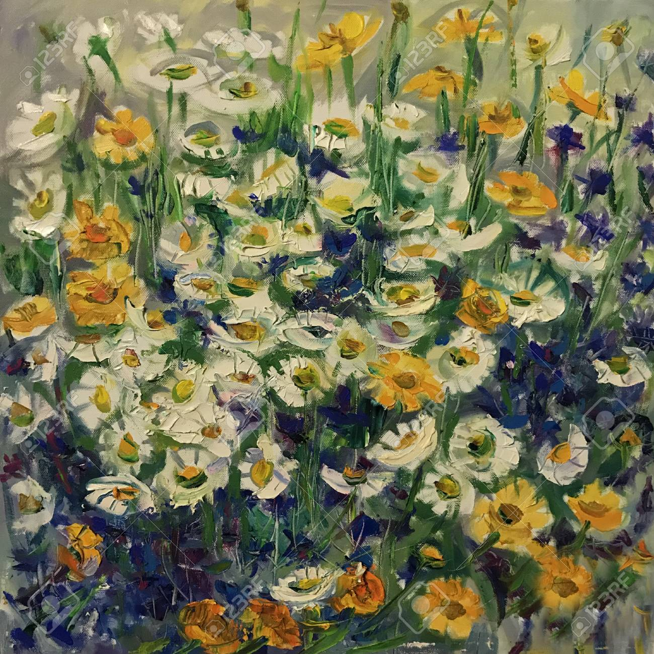 Drawing Of Camomile And Cornflowers Picture Contains An Interesting