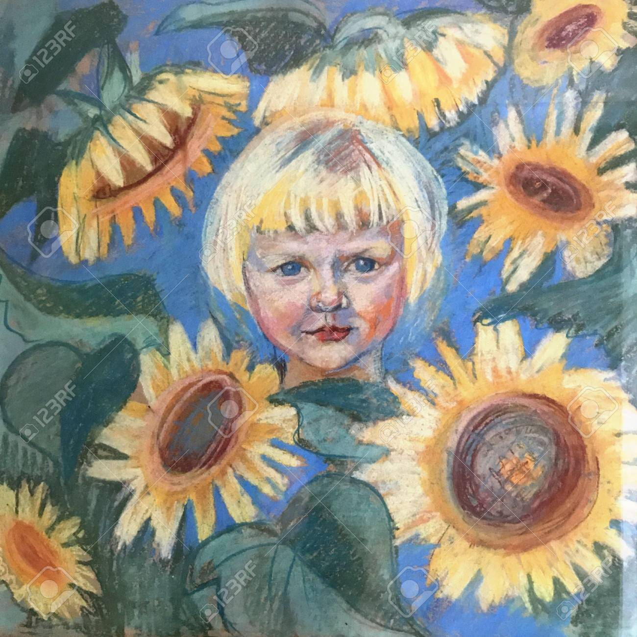 Drawing Of Bright Sunny Girl Among Sunflowers Picture Contains