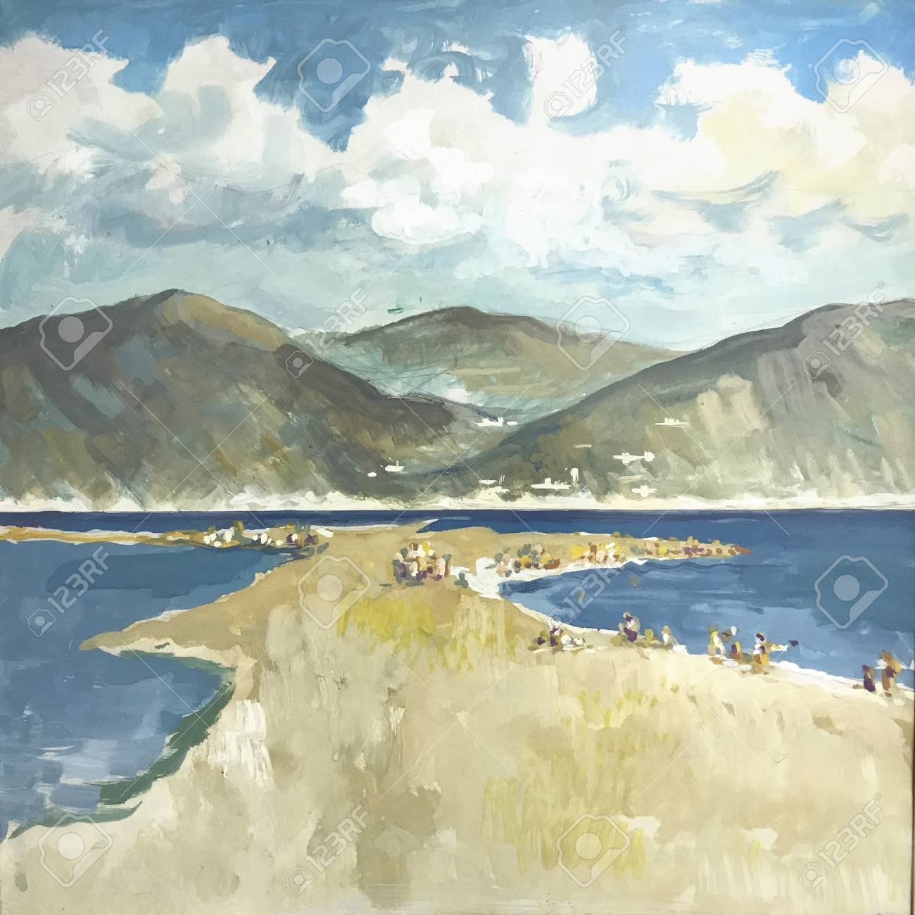Drawing Of Bright Sunny Day Beach Sand Sea Picture Contains Stock Photo Picture And Royalty Free Image Image 119015136