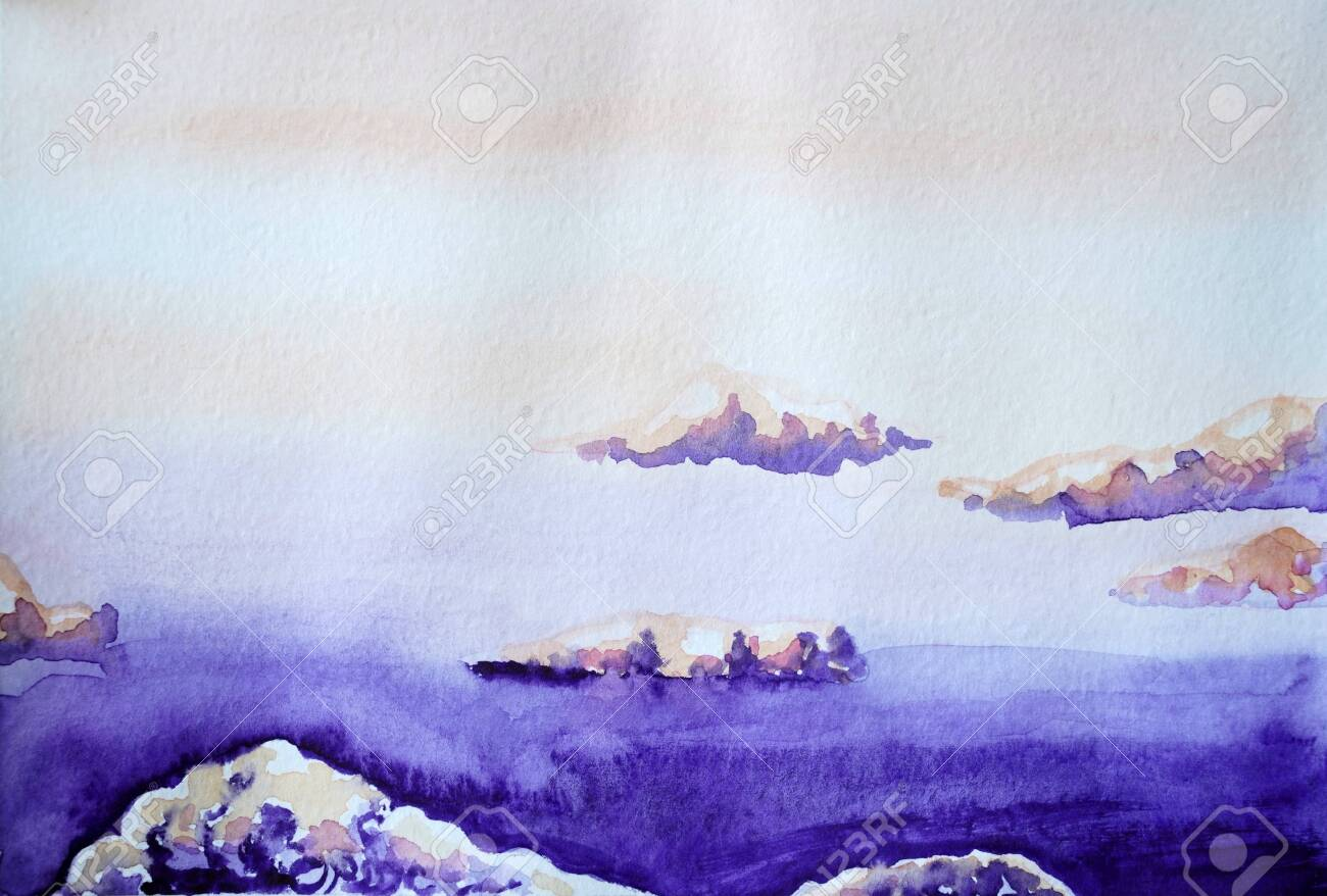 Drawing Of Bright Purple Sky Violet Clouds Picture Contains