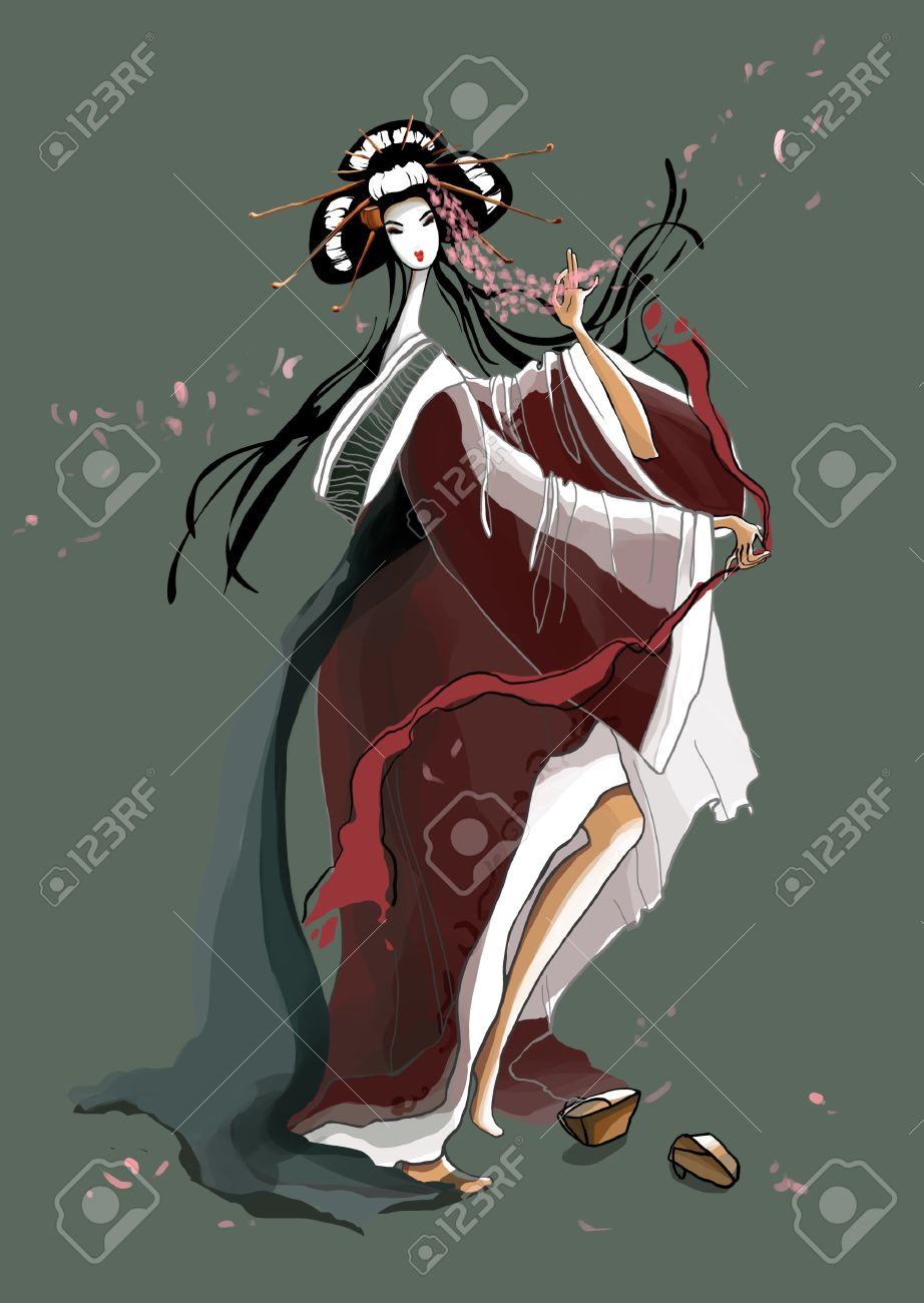 Dance of the Young Geisha  illustration Stock Photo - 17364680