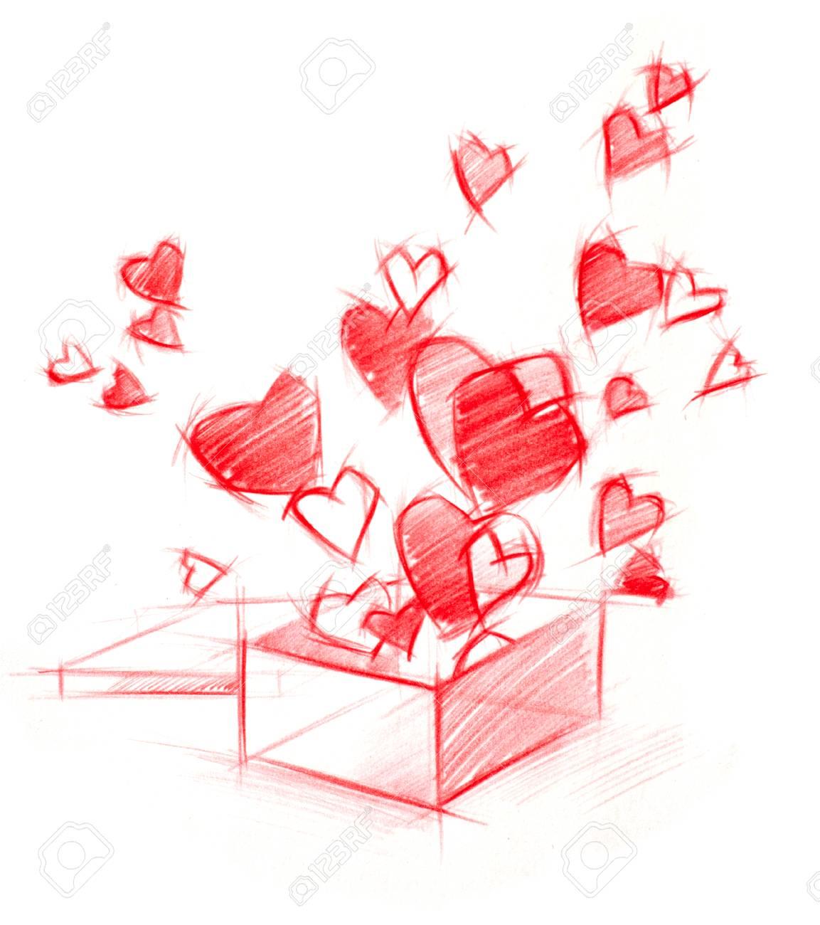 Croquis Dessin Box Avec Des Coeurs Rouges Isole Sur Blanc Banque