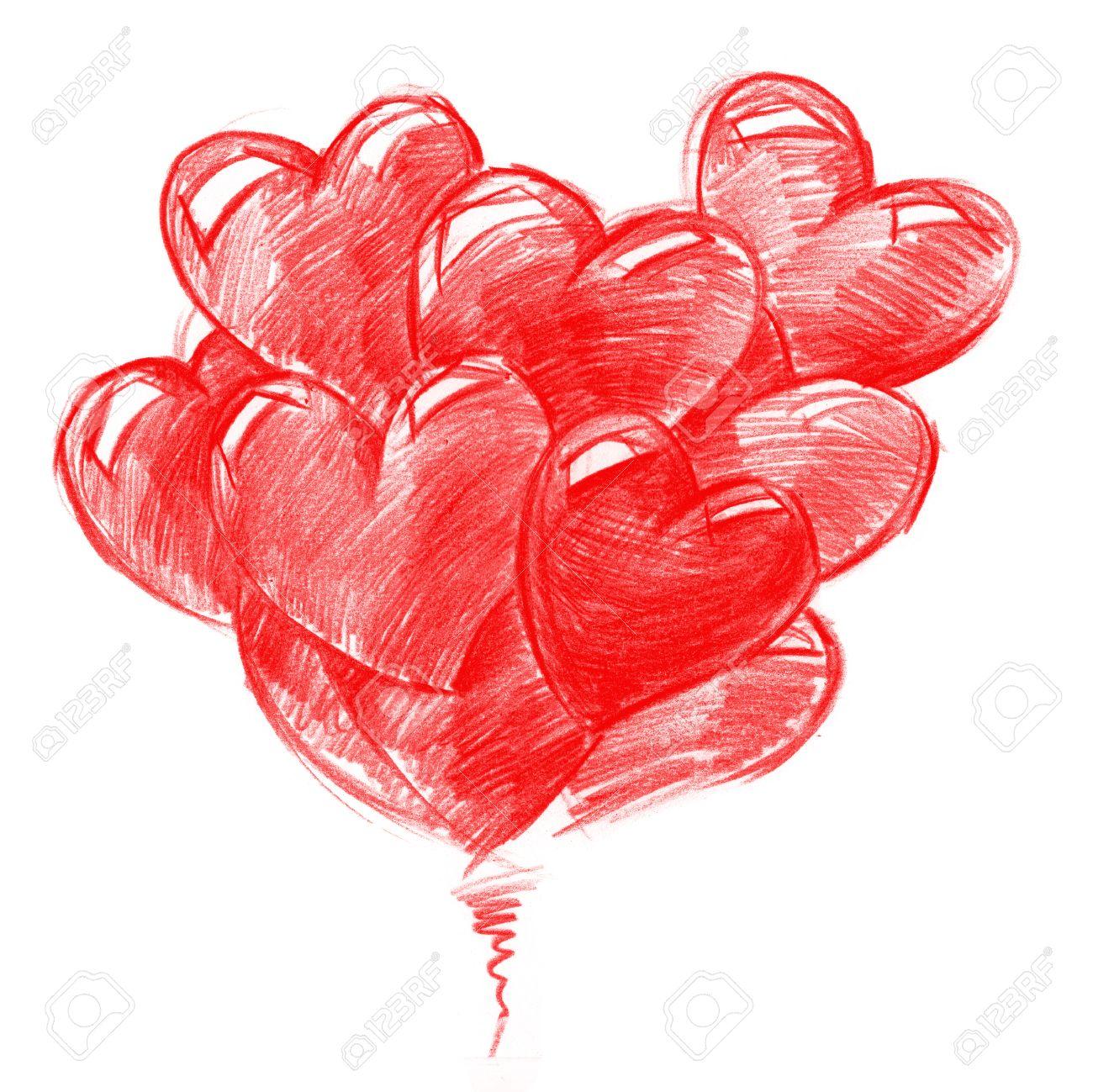 Globos Rojos En Forma De Corazones Para San Valentín Día Dibujo A