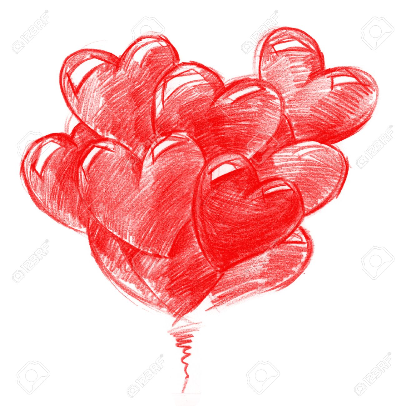 Red Balloons In The Shape Of Hearts For Valentines Daypencil