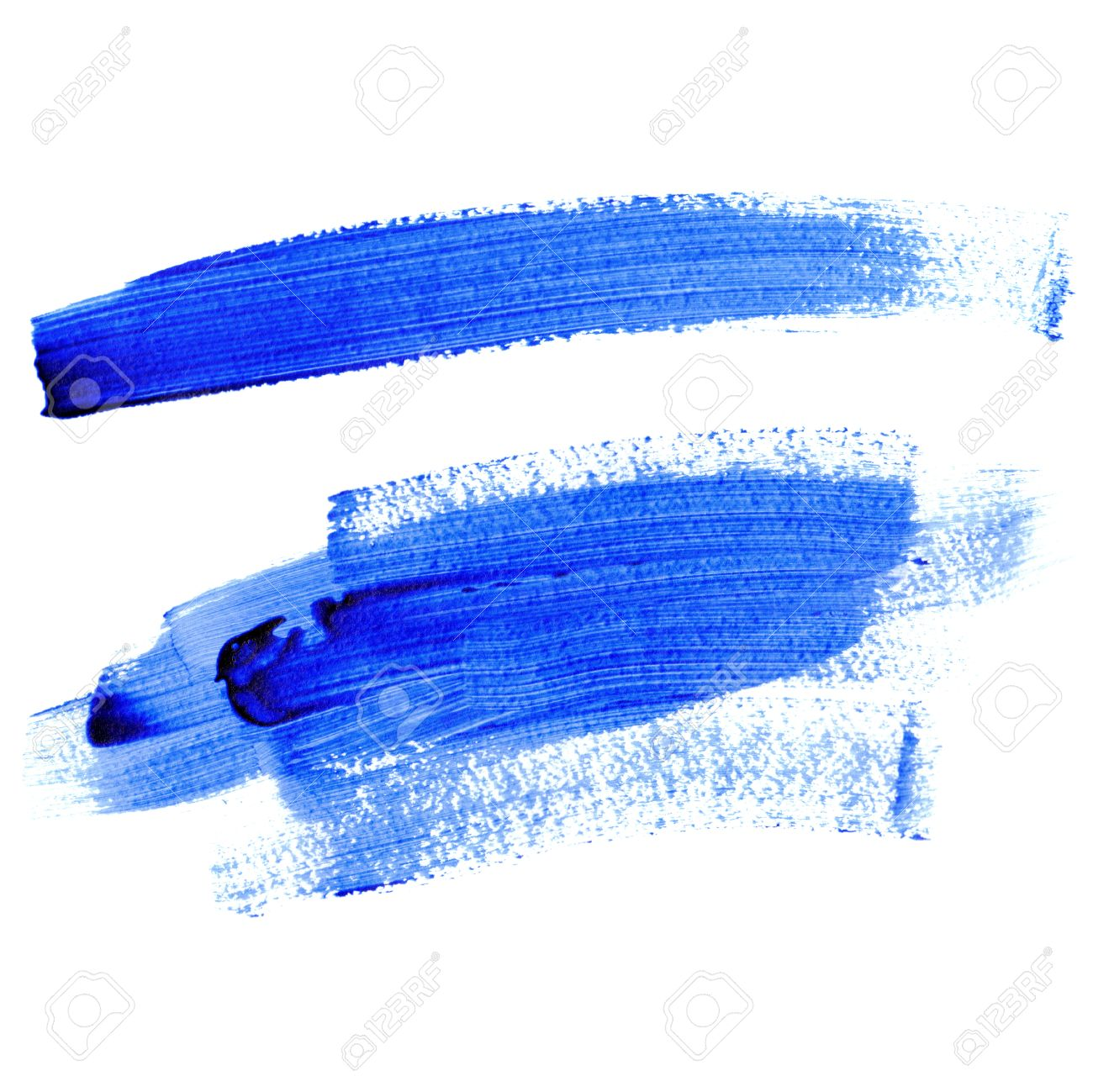 Blue Paint traces of lines with blue paint isolated on a white background