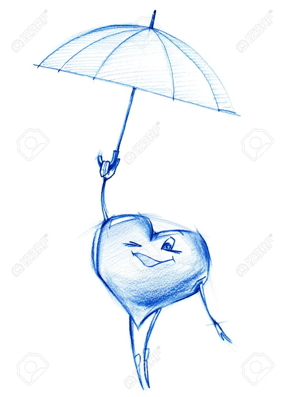 Facile Coeur Volant Sur Un Parapluie Dans Sky Set Coeur De Caractères Dans Diverses Situations De La Vie Illustration Graphique De Dessin Au Crayon