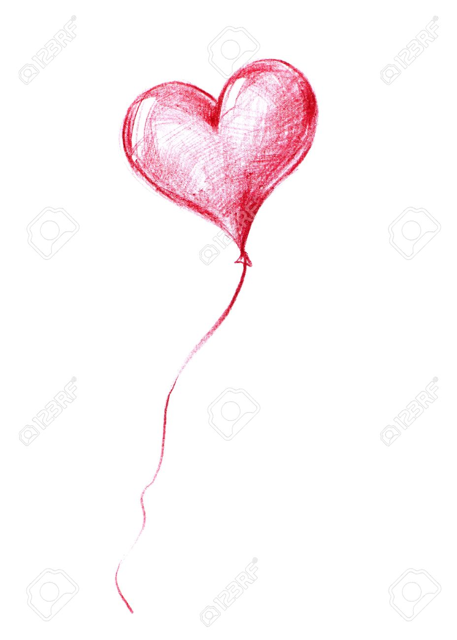 Balloon Of St Valentines Day Flying To The Skygraphic Illustration