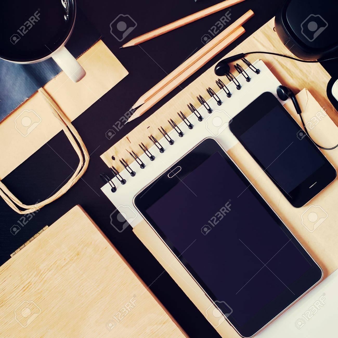 Genial Set Business Men Order On Black Office Table. Modern Devices Accessories  Phone Tablet Earphones.