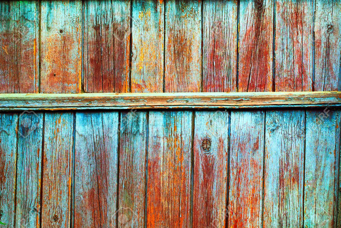 Shabby Wooden Colored Fence Texture Old Background Country Vintage Planks With Cracked Color Paint Stock
