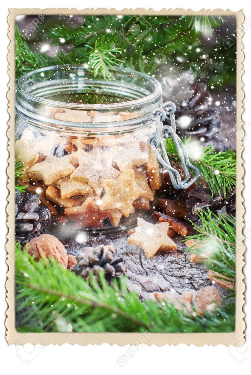 Ginger Weihnachtsplätzchen Sterne Im Glas Vintage-Stil Gezeichnet ...