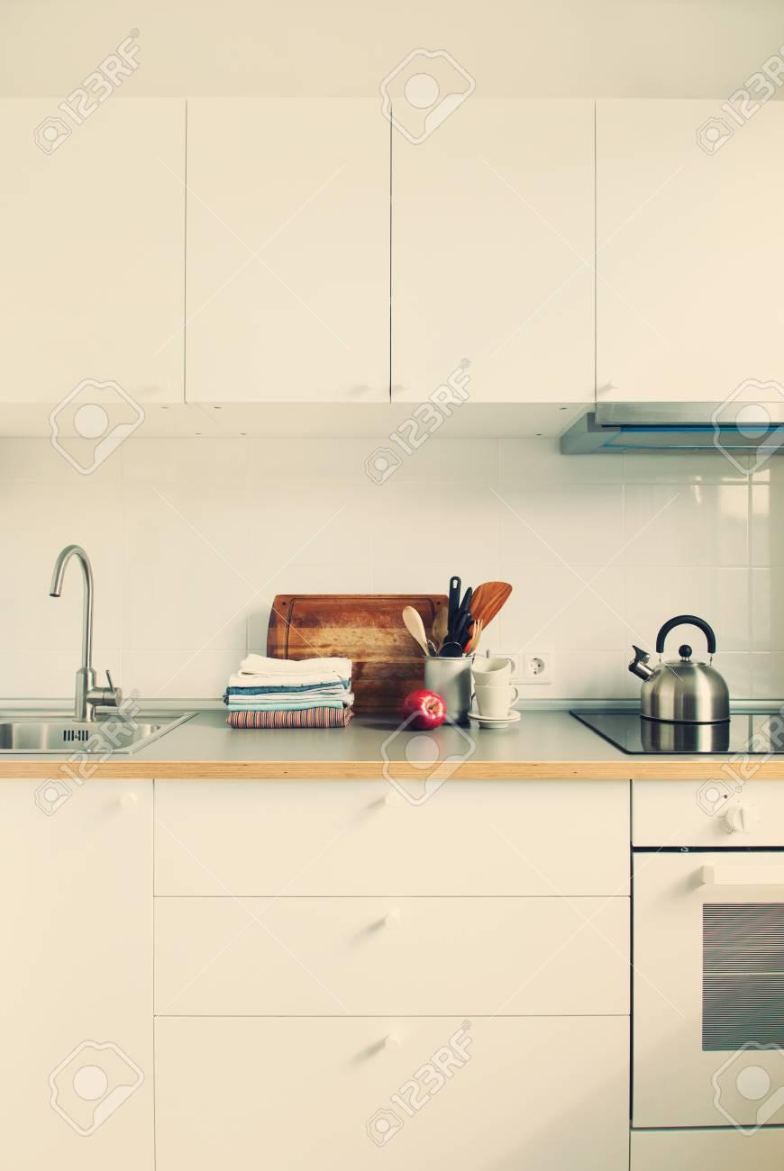 White Kitchen Interior Accessories Dishes Staff Apple Grocery ...