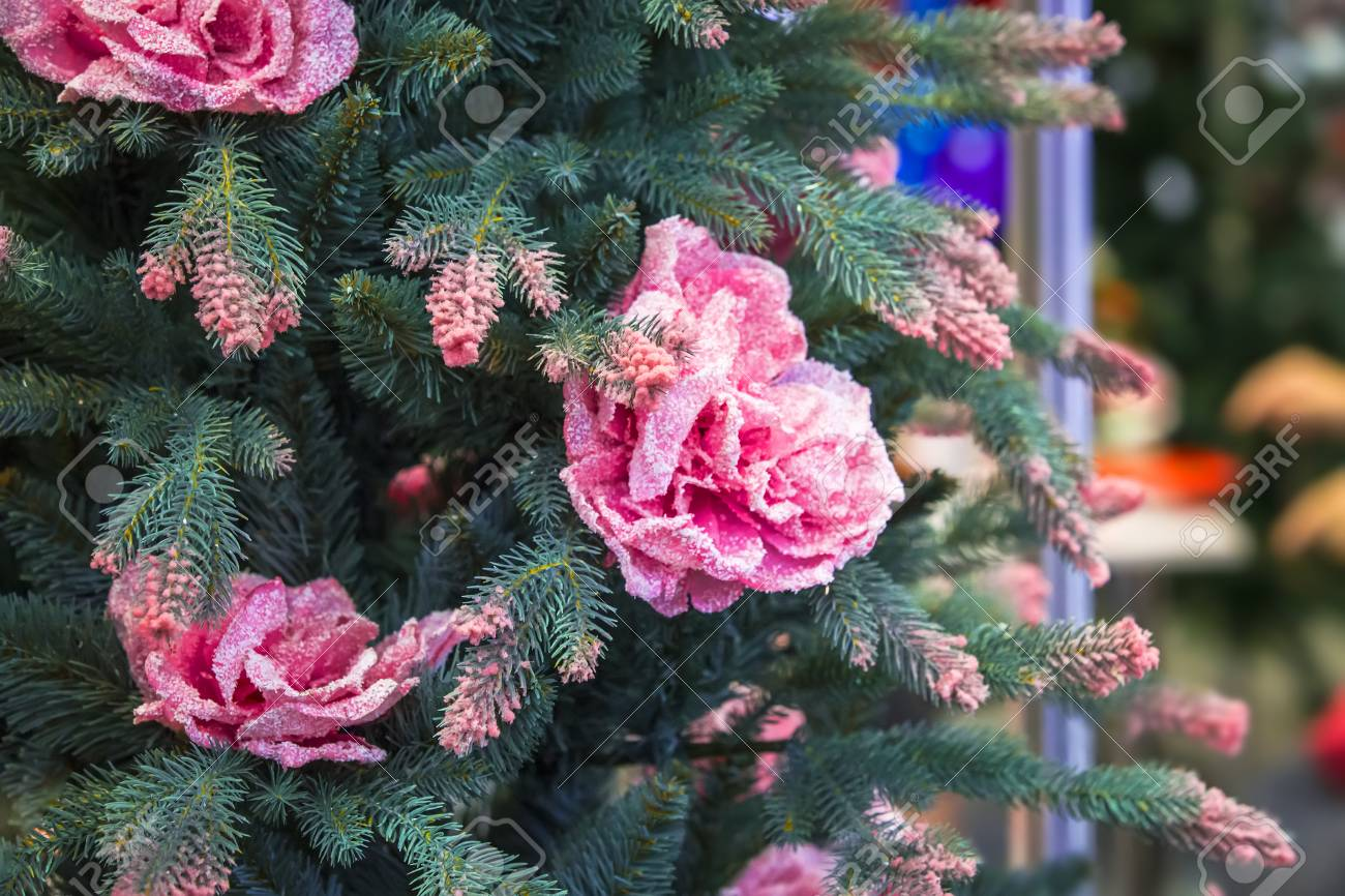 Pink Artificial Christmas Tree.The Newest Modern Artificial Christmas Tree With Flowers And