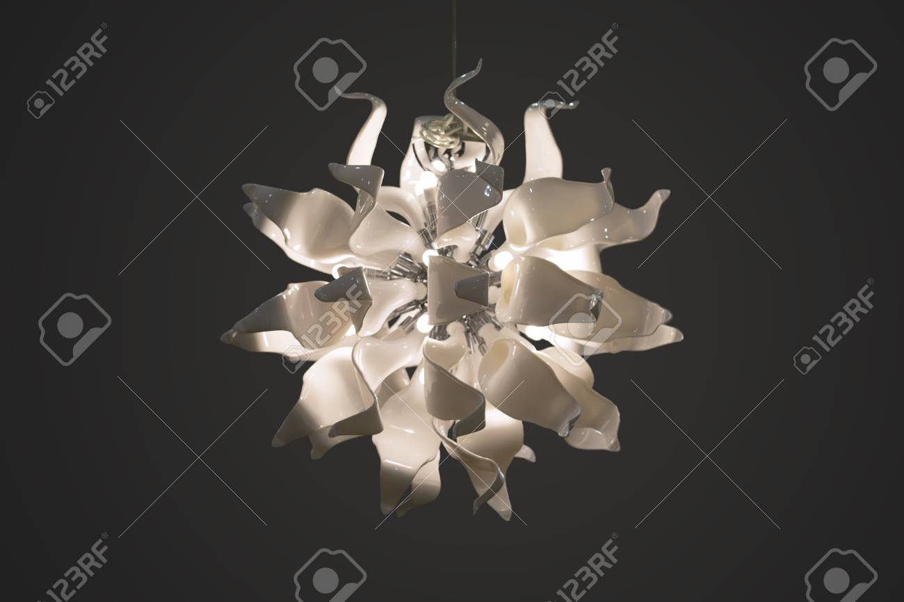 Chandelier Pendant Lamp White Glass Lamp In The Form Of Flower