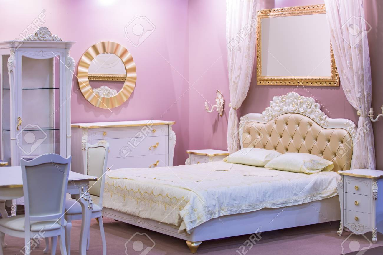 Luxury White Bedroom In Antique Style With Rich Decor Interior