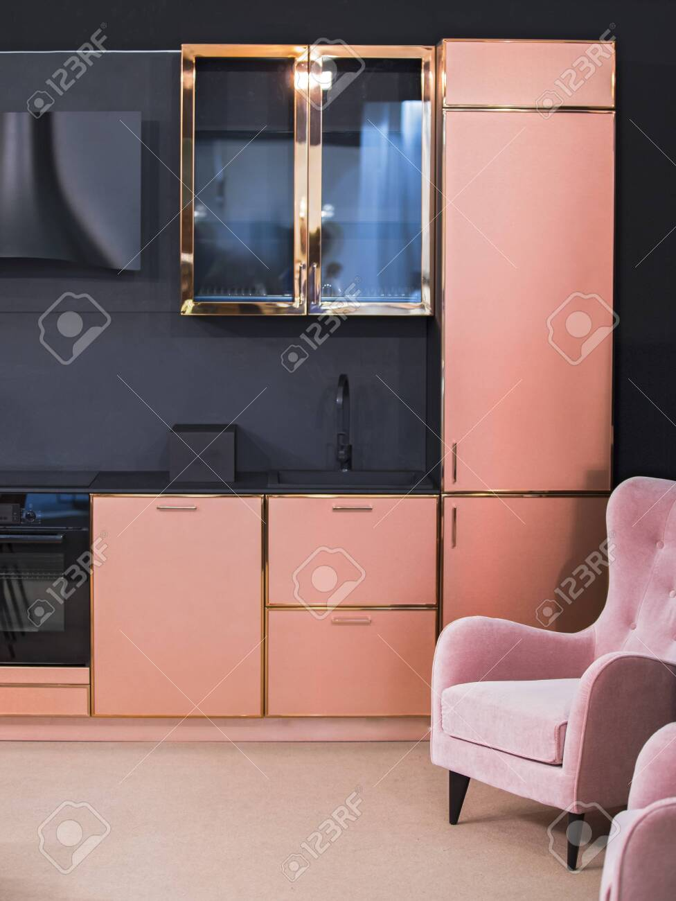 Kitchen Design Set Of Rose Gold Color Furniture Brass Finish Stock Photo Picture And Royalty Free Image Image 129018259