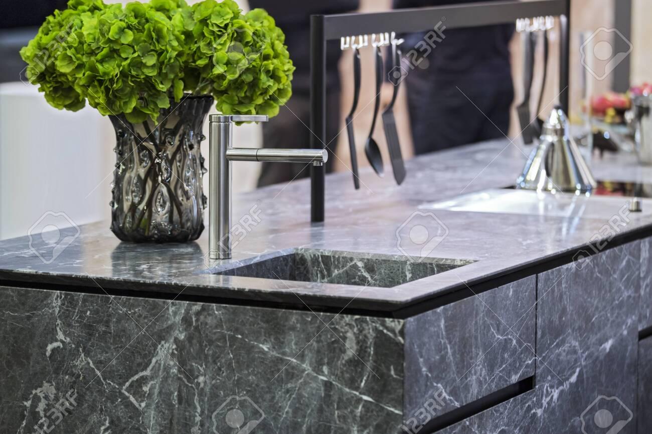 Beautiful modern kitchen design, kitchen faucet and kitchen decor,..