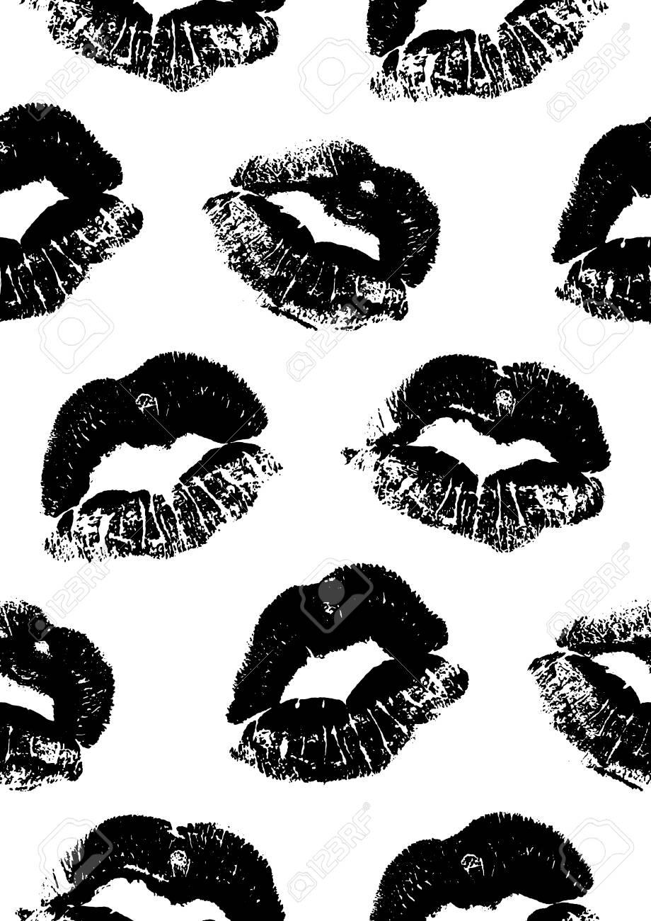 Nahtlose Muster Mit Einem Lippenstift Kuss Druckt Fur Das Verpacken
