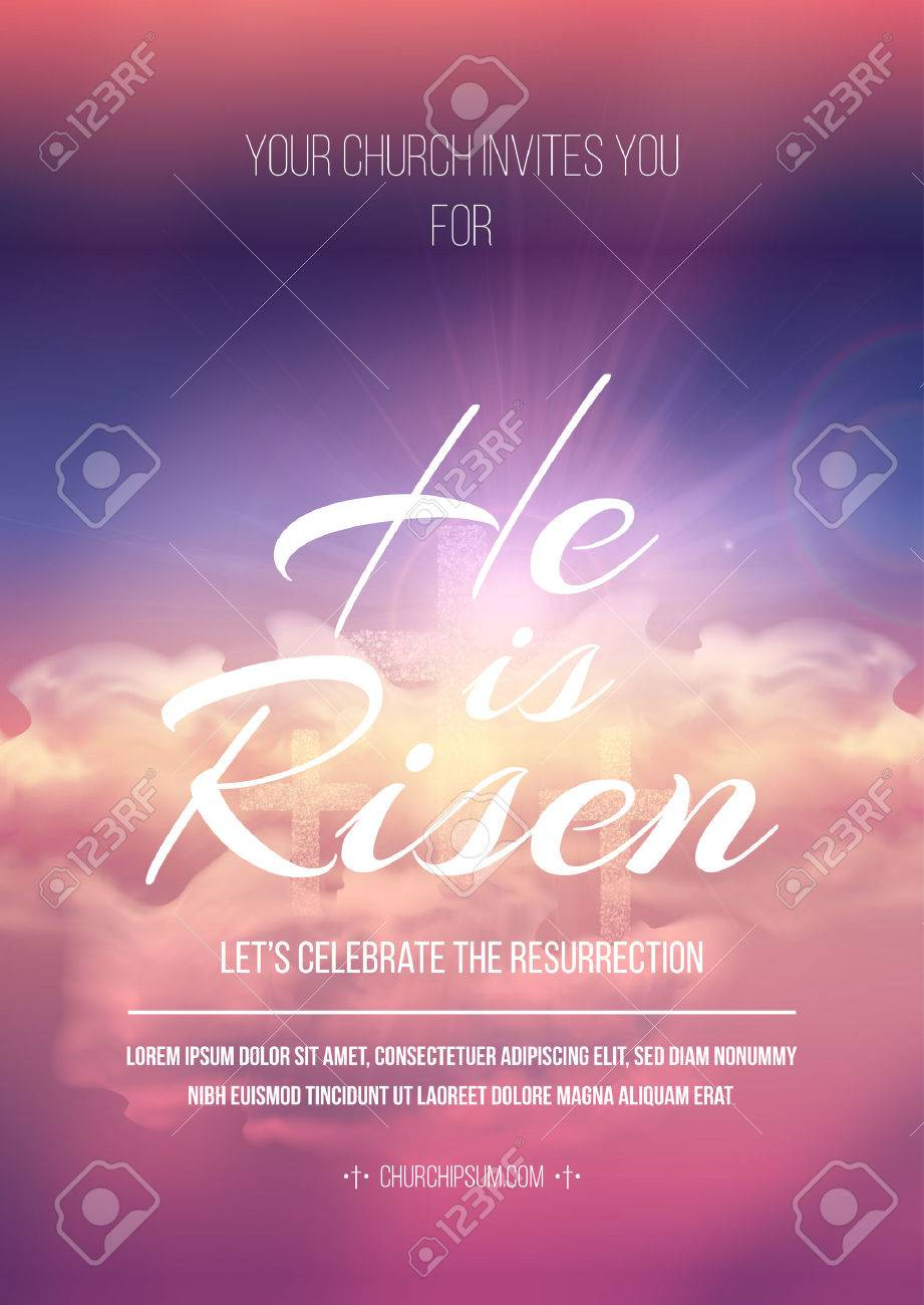 easter religious poster template with transparency and gradient