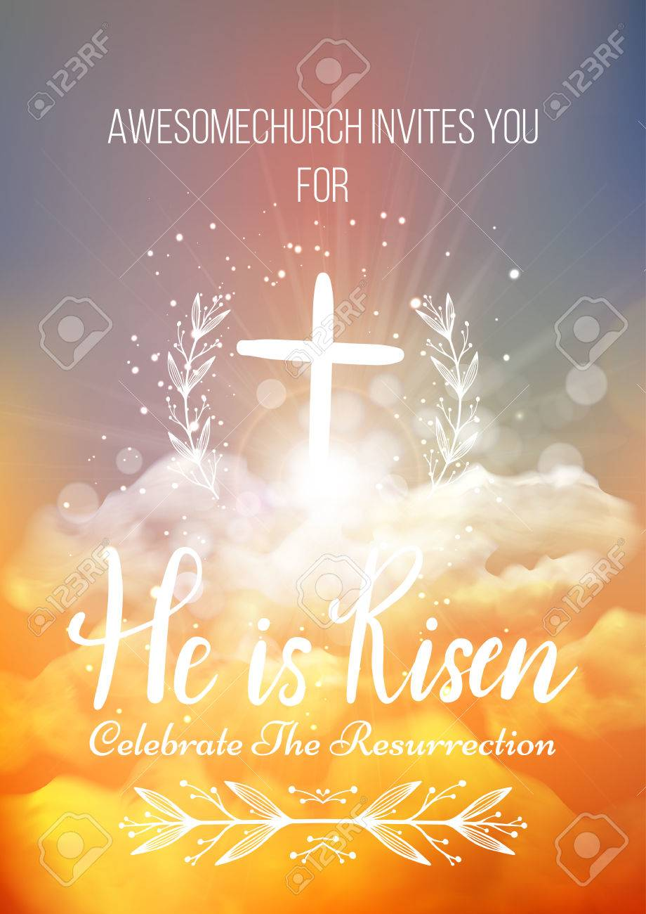 He is risen vector easter religious poster template with he is risen vector easter religious poster template with transparency and gradient mesh church stopboris Image collections