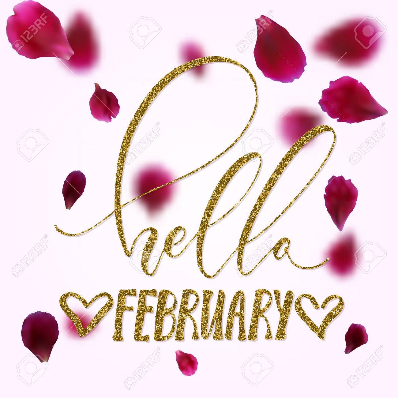 Hello February   Freehand Inspirational Romantic Quote With Golden Glitter  Texture. For Valentines Day,