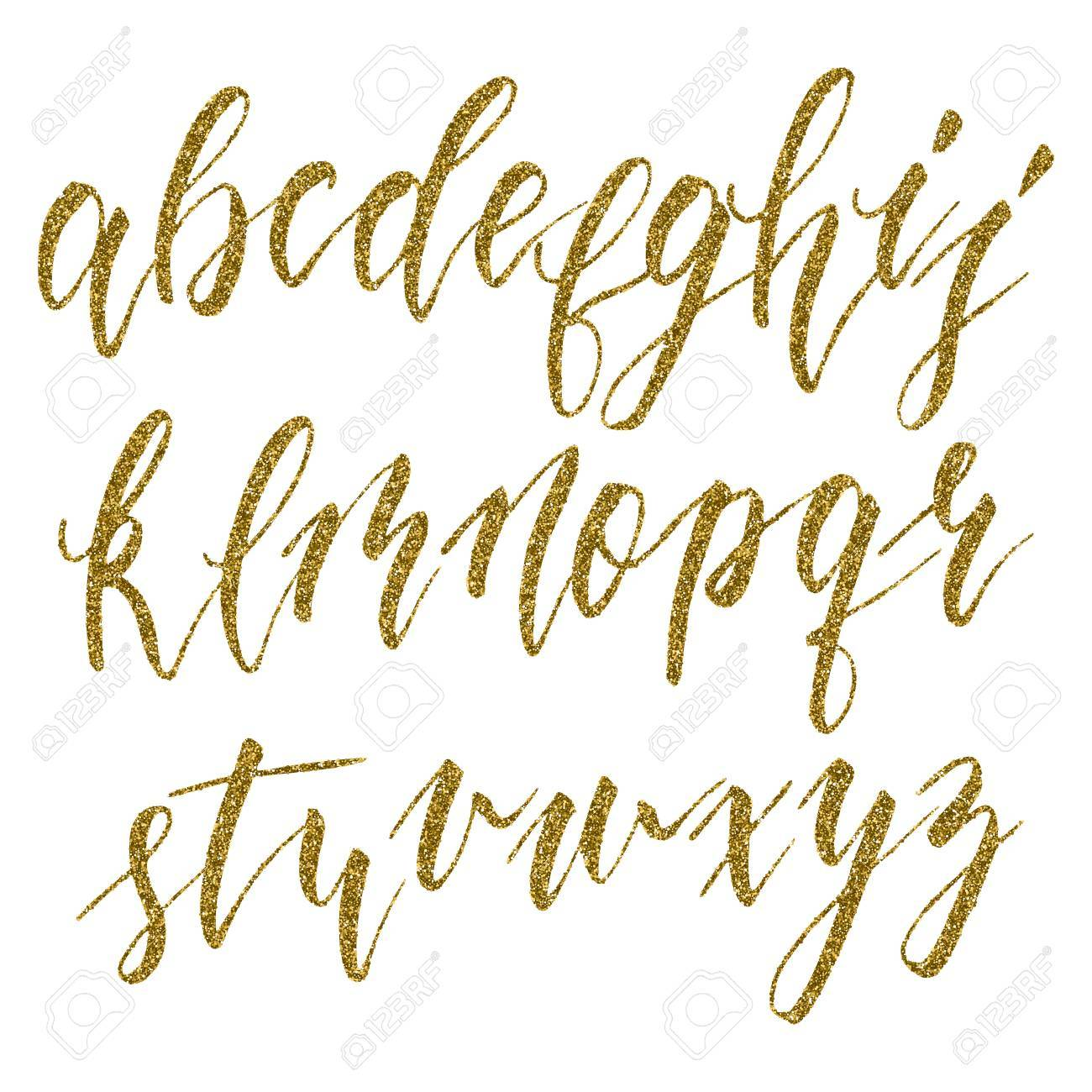 Hand Drawn English Calligraphic Alphabet With Gold Glitter Texture Each Letter Isolated On A White