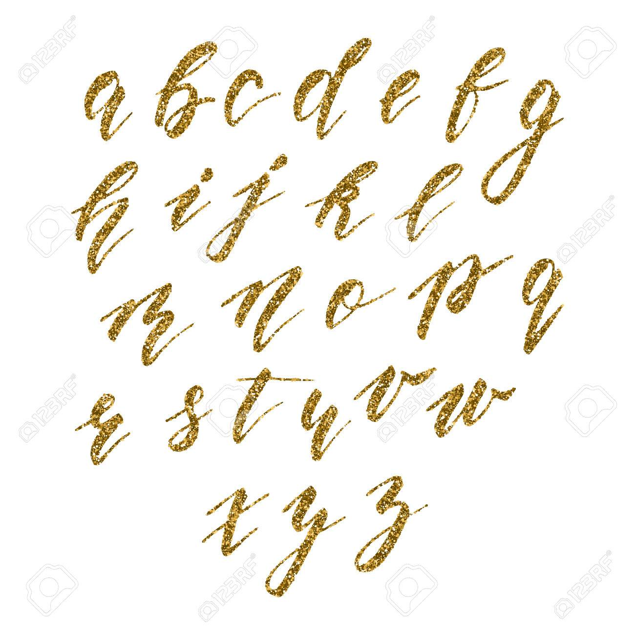 Hand drawn english calligraphic alphabet with gold glitter texture